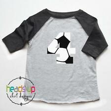 4 Birthday Tee Raglan Boy/Girl - Soccer Four Birthday Shirt - 4th Bday Soccer
