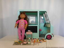 "Our Generation Ice Cream Truck Playset + 18"" Dressed Doll Lights Sounds work"