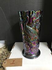 Fenton Dark Amethyst Peacock Garden Carnival Glass Vase