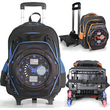 Boy's Backpack With 6Wheels Waterproof Draw-bar Luggage School Bag Shoulders Bag