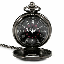 Retro vintage black pocket watch necklace quartz movement antique