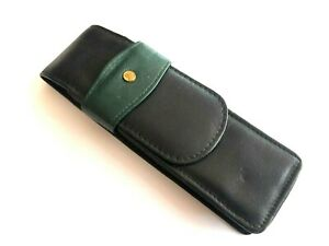 Vintage Rare Black & Green Leather Pouch Case for three Writing Instruments