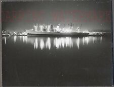 Unusual Vintage Photo Cruise Ship Lights at Night Water Reflection 767301