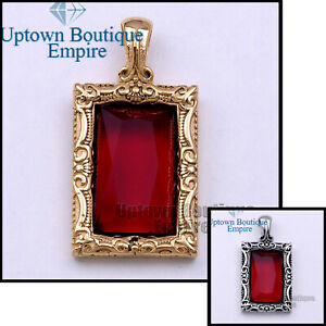 YP35-Men's Stainless Steel Gold Silver Ruby Rapper Hip Hop Square Pendant