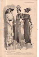 1912 Original Delineator Fashion Print - Flounced and ruffled Skirts; Kimono