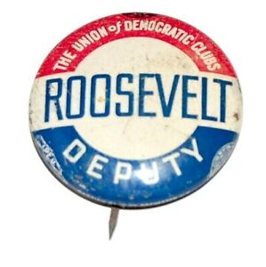 1936 Franklin D Roosevelt FDR campaign pin pinback button political presidential
