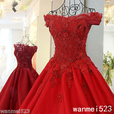 New Princess Wedding Dress Arabic Red Pearl  Bead Bride Gown Size 2 4 6 8 10 12+