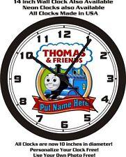 THOMAS & FRIENDS TRAIN WALL CLOCK-ADD NAME FREE+ FREE USA SHIP!