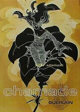 PUBLICITE GUERLAIN PARFUM CHAMADE FEMME DE 1972 FRENCH AD PUB RARE VINTAGE