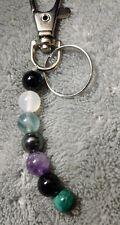 empath protection crystal healing bead bag charm key chain rose quartz malachite