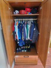 Oak Combination Wardrobe Low Rustic Solid Wood Storage Cabinet w 3 Drawers