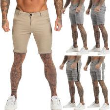 GINGTTO Men Chino Shorts Slim Fit Summer Skinny Stretch Half Pant Gray / Khaki