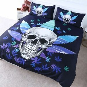 Skull Bedding Set Maple Leaf Duvet Cover Set Gothic Comforter Cover 3-Pcs Blue