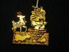 1998 Dandury Mint gold Christmas ornament gold plate Santa's arrival