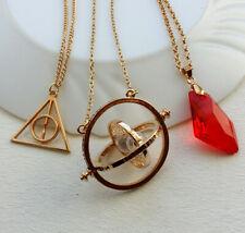 Lote set collares de Harry potter Giratiempos triángulo y piedra rojo filosofal