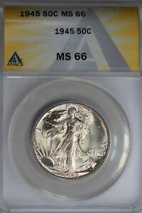 1945  .50   ANACS   MS 66   Walking Liberty, Half Dollar, Lady Liberty Half