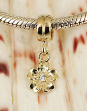 SOLID 9CT 9K GOLD CZ Flower Dangle BEAD / Pendant Fit Charm Bracelet or Necklace
