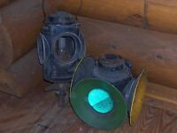 2 Antique RR Railroad Signal Switch Lamp Lantern Light Train Switch C&O RY