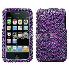 Purple Zebra Bling Case Cover for Apple iPhone 3G 3GS