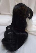 "Sz 16/17"" Long Center Part Black Doll Wig Reborn OOAK Repair CHYNA"