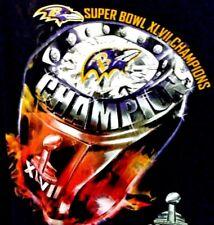 Superbowl XLVII Baltimore Ravens Champions Black Tee Shirt 4XL