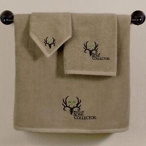 Bone Collector Towel Set Michael Waddell Licensed 3pc Deer Antler Skull Logo Tan