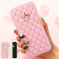 For iPhone 12 Pro Max 11 XS XR 8 7 6 Bling Case Diamond Flip Walet Leather Cover