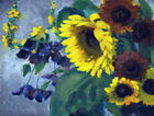 Framed canvas art print giclee GROSSE SONNENBLUME LARGE SUNFLOWER AND CLEMATIS