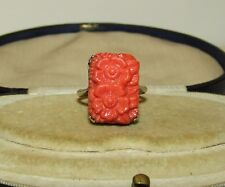 SUPERB, ANTIQUE, CHINESE STERLING SILVER RING WITH CARVED CORAL GEM