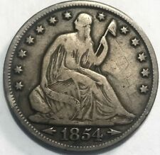 USA - Seated Liberty Half Dollar - 50 Cents - 1854-O Arrows - Graffiti