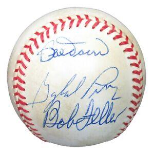 Bobby Doerr Gaylord Perry Bob Feller Signed Baseball Upper Deck UDA Sticker Only