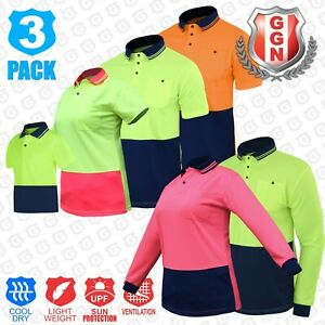 3x HI VIS Shirts Arm Vents Men Kids Ladies Safety Work POLO Two Tone Cool Dry