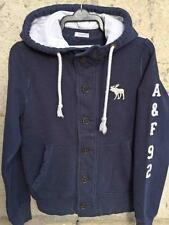 Abercrombie + Fitch A+F Mens or Boys Hooded Button Up Sweatshirt Jacket Small