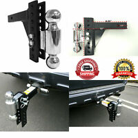 Chrome Dual Ball Mount Drop Adjustable Hitch Tow Truck Receiver Heavy Duty New