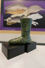 Contemporary Inuit Art Carving My Green Kamik (Boot) by Innuki Oqatuq (1926-86)