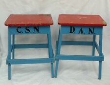 Pair of Vintage Retro Childs Nursery Stools Bedside Tables 1950's