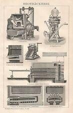 B0060 Attrezzature per panetterie - Xilografia d'epoca - 1901 Vintage engraving