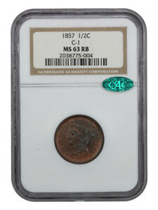 1857 1/2c NGC/CAC MS63 RB - Braided Hair Half Cents (1840-1857)
