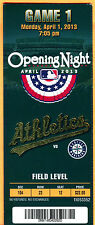 2013 OAK A'S OPENING DAY FULL TICKET-4/1/13 VS. MARINERS