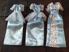 BARBIE DOLL CLOTHING - 3 BLUE & WHITE PRINCESS GOWNS