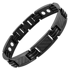 Willis Judd Mens Black Carbon Fiber Titanium Magnetic Bracelet