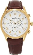 Alexander Wrist Men Brown Leather Analog Swiss Chronograph Stainless Steel Watch
