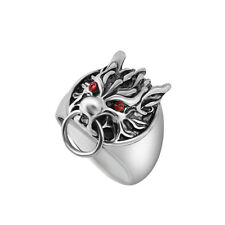 Red Eyes Dragon Gothic Biker Classic Fashion Metal Silver Plated S. 9 Men Ring