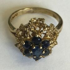 Vintage Solid 9ct Yellow Gold  Sapphire Cluster Dress Ring Size L1/2 Bravingtons