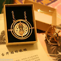 Harry Potter Time Turner Necklace Hermione Granger Rotating Spin Hourglass w/Box