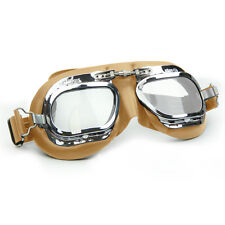 Halcyon Mark 410 Tan Leather Classic Goggles - For Motorcar Racing Enthusiasts