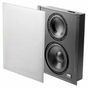 """Trimless In Wall Dual Subwoofer 8"""" & 10"""" Woofers 300W Passive Tuned Cabinet OSD"""