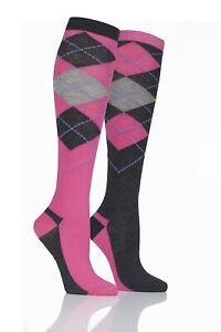Storm Bloc Cotton Rich Equestrian long socks. 2 pack. Multi design. Adult/Jnr