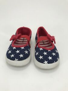 Garanimals Mary Jane Red White Blue Americana Canvas Little Girls Shoes Size  6