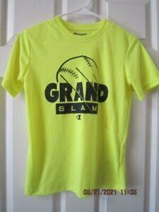 Champion Athletic Wear Boys Size 10/ 12 GRAND SLAM Graphic Yellow T- Shirt